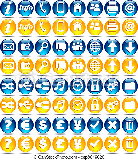 web icons glossy series basic set of modern web mobile rh canstockphoto com clip art icons and symbols clip art icons and symbols