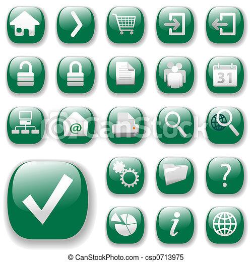 Web Icons Set-Green - csp0713975