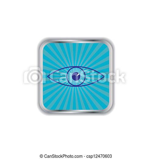 web, lucido, quadrato, button., occhio - csp12470603