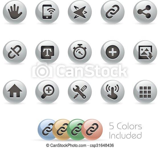 Web & Mobile Icons 10 - Metal Round - csp31648436
