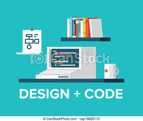 Web programming and design with retro computer illustration