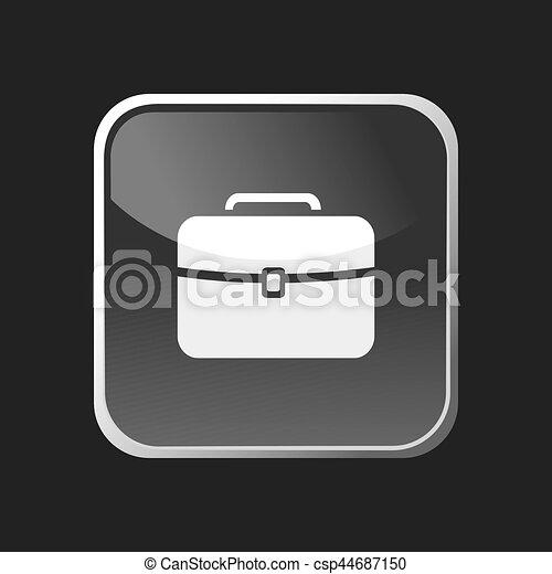 web, quadrato, cartella, bottone, sfondo nero, icona - csp44687150