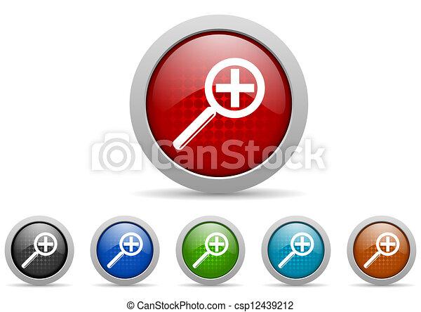 web, set, iconen, vergroting, glanzend, achtergrond, witte  - csp12439212