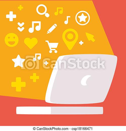 web, set, monitor, colorito, icone, luce, sociale, reti - csp18166471