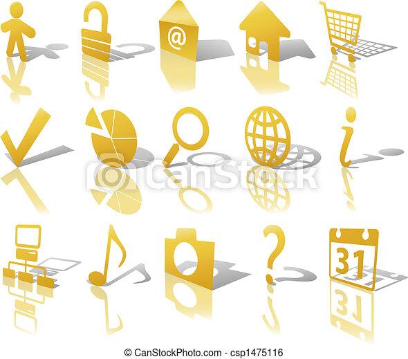 web, set, oro, angolato, bottone, icone, 1, riflettere, uggia - csp1475116