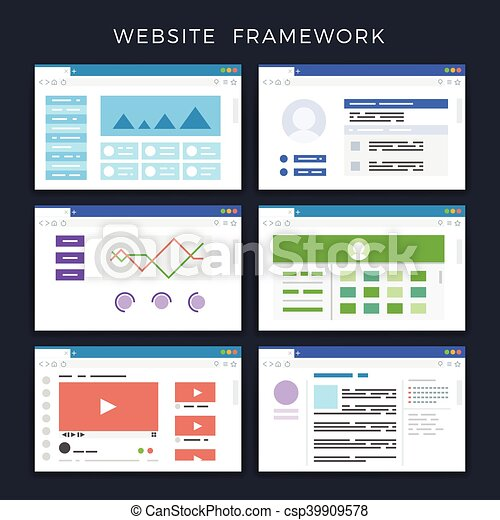 Web site page templates, layouts, website wireframes vector set - csp39909578