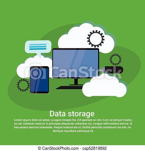 web, spazio, dati, calcolare, magazzino, sagoma, servizi, copia, bandiera, nuvola - csp52819892