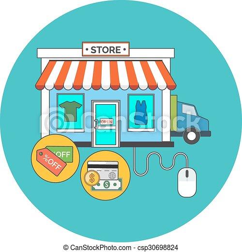 Web store, Online shop concept. Flat design. - csp30698824
