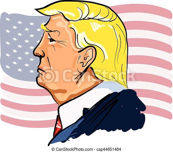 Web Vector color illustrated portrait of president Donald Trump - csp44651484