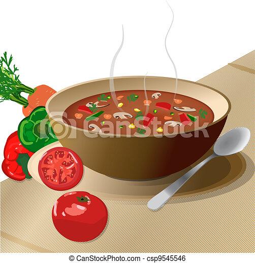 Webbowl of hot vegetable soup on pl. Bowl of hot vegetable ...