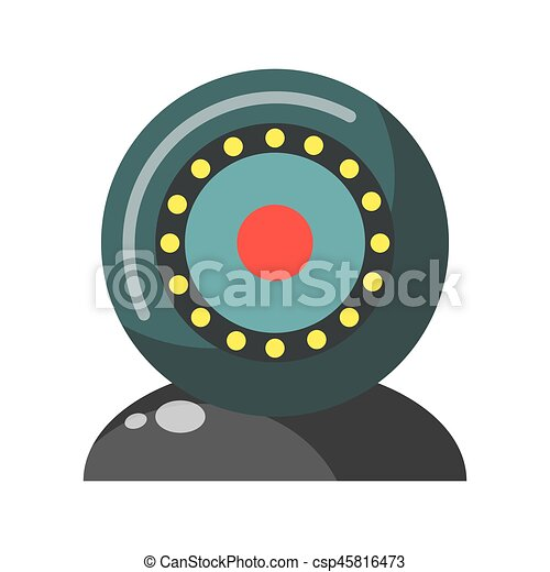 Webcam round realistic colorful device isolated on white - csp45816473