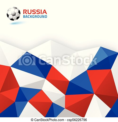 Webgeometric Blue Red White Abstract Bright Background Russia 2018 Flag Colors Soccer Ball Icon Vector Illustration