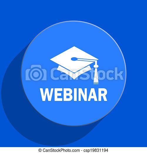 webinar blue web flat icon - csp19831194