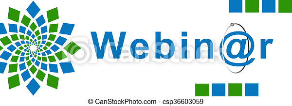 webinar green blue element webinar text over white background with