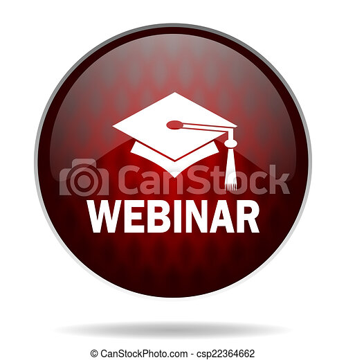 webinar red glossy web icon on white background - csp22364662