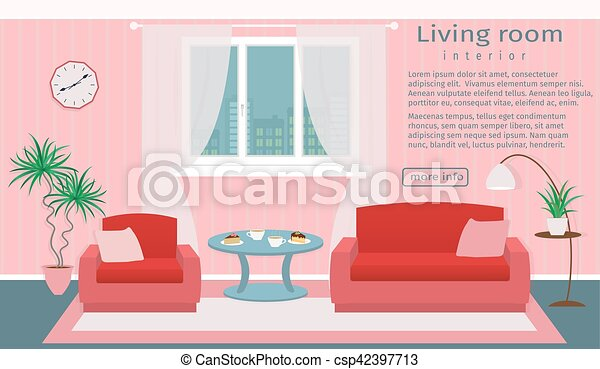 Website banner of living room interior. vector illustration ...