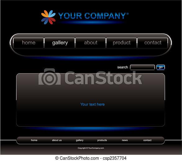 Website blue button bars set template - csp2357704