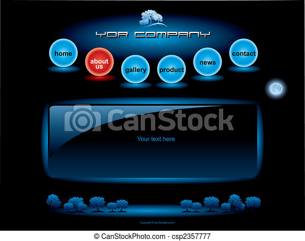 Website blue spheres button bars set template - csp2357777