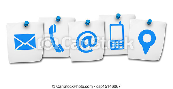Website Contact Us Icons On Post It - csp15146067