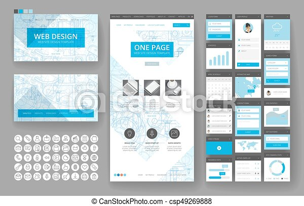 Website design template and interface elements website template website design template and interface elements csp49269888 malvernweather Choice Image