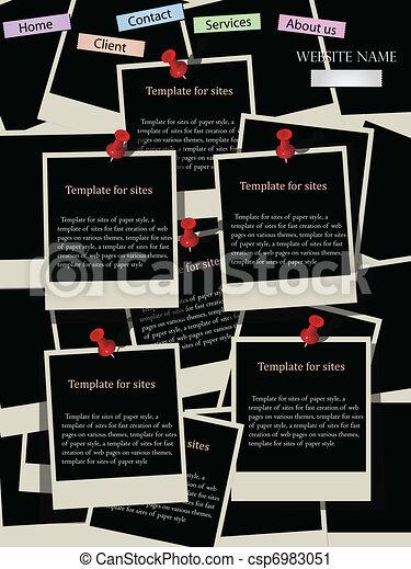 Website design template with instant photos - csp6983051