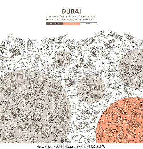 Dubai doodle Website Vorlage Design - csp34332370