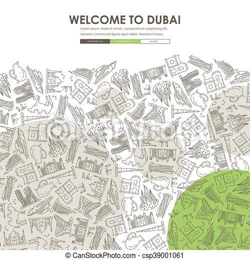Dubai doodle Website Vorlage Design - csp39001061