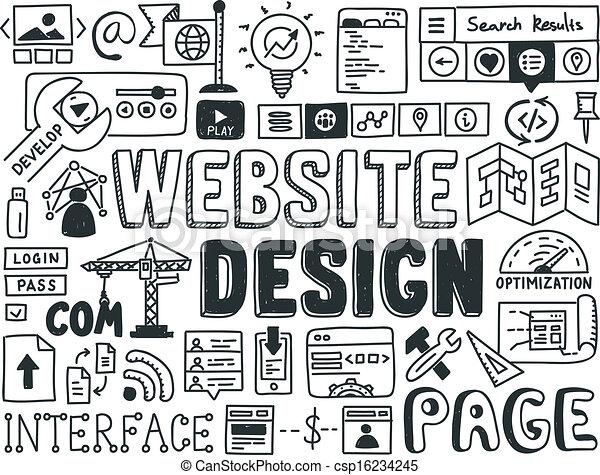 Website Design Doodle Elemente - csp16234245