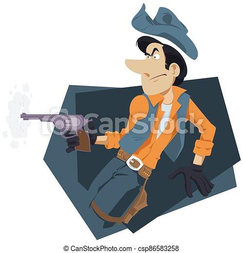 website., gun., salvaje, internet, oeste, móvil, ilustración, world., vaquero - csp86583258