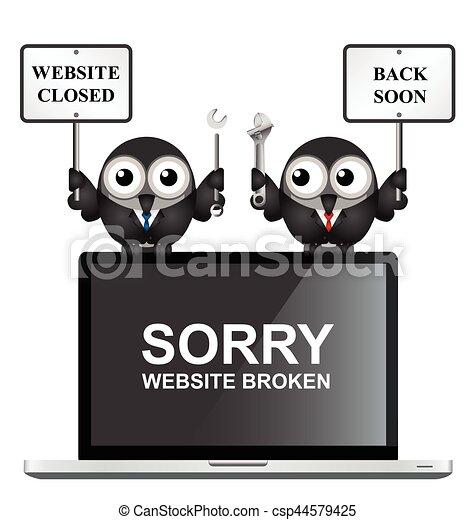 Website Maintenance Comical Broken With Back Soon Message