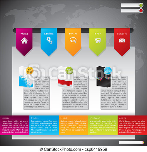 Website Template Design mit Produkten - csp8419959