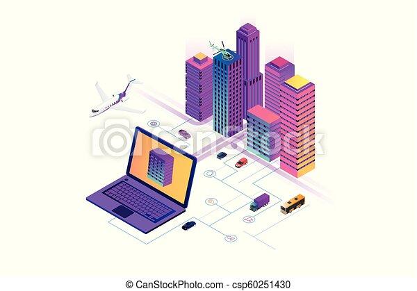 website, stadt, isometrisch, begriff, city., sachen, modern, heiligenbilder, wirklichkeit, internet, dienstleistungen, template., netze, klug, augmented - csp60251430