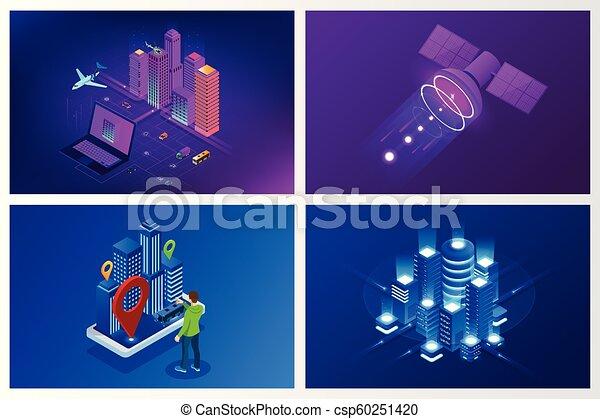 website, stadt, isometrisch, begriff, city., sachen, modern, heiligenbilder, wirklichkeit, internet, dienstleistungen, template., netze, klug, augmented - csp60251420
