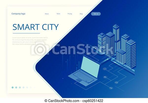 website, stadt, isometrisch, begriff, city., sachen, modern, heiligenbilder, wirklichkeit, internet, dienstleistungen, template., netze, klug, augmented - csp60251422
