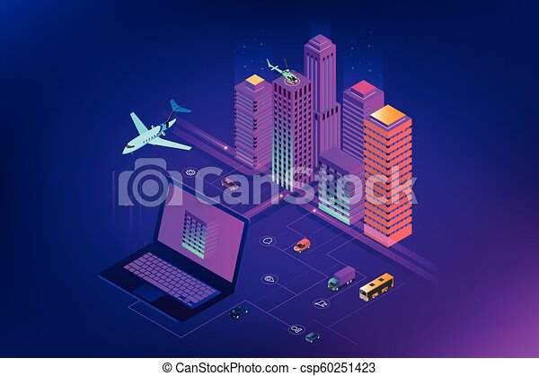 Isomerische moderne Stadt. Konzept Website Vorlage. Intelligente Stadt mit intelligenten Dienstleistungen und Icons, Internet von Dingen, Netzwerken und erweitertem Reality-Konzept - csp60251423