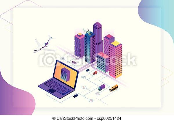 Isomerische moderne Stadt. Konzept Website Vorlage. Intelligente Stadt mit intelligenten Dienstleistungen und Icons, Internet von Dingen, Netzwerken und erweitertem Reality-Konzept - csp60251424