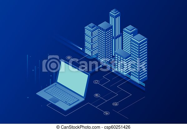 Isomerische moderne Stadt. Konzept Website Vorlage. Intelligente Stadt mit intelligenten Dienstleistungen und Icons, Internet von Dingen, Netzwerken und erweitertem Reality-Konzept - csp60251426