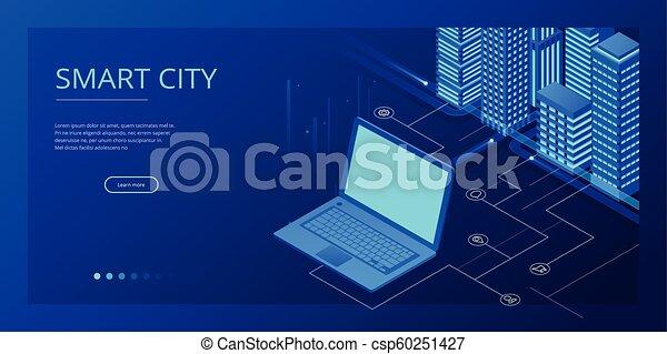 Isomerische moderne Stadt. Konzept Website Vorlage. Intelligente Stadt mit intelligenten Dienstleistungen und Icons, Internet von Dingen, Netzwerken und erweitertem Reality-Konzept - csp60251427