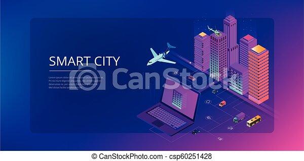 website, stadt, isometrisch, begriff, city., sachen, modern, heiligenbilder, wirklichkeit, internet, dienstleistungen, template., netze, klug, augmented - csp60251428