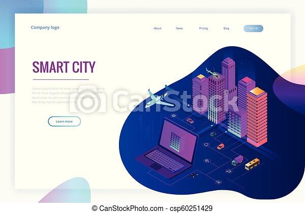 Isomerische moderne Stadt. Konzept Website Vorlage. Intelligente Stadt mit intelligenten Dienstleistungen und Icons, Internet von Dingen, Netzwerken und erweitertem Reality-Konzept - csp60251429