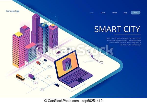 Isomerische moderne Stadt. Konzept Website Vorlage. Intelligente Stadt mit intelligenten Dienstleistungen und Icons, Internet von Dingen, Netzwerken und erweitertem Reality-Konzept - csp60251419
