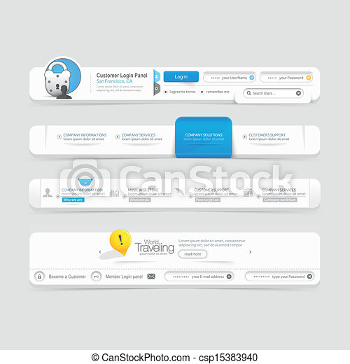 Website  template design menu navig - csp15383940