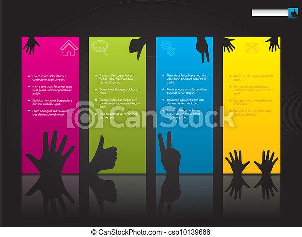 Website template design with hand symbols - csp10139688