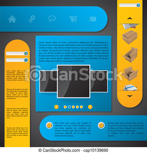 Website template design with labels - csp10139690