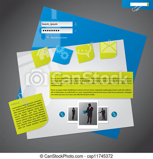 Website template design with notepapers - csp11745372