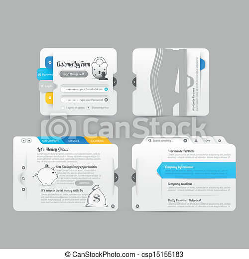 Website template infographic design menu navigation elements  - csp15155183