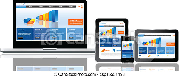 Website template on multiple devices - csp16551493
