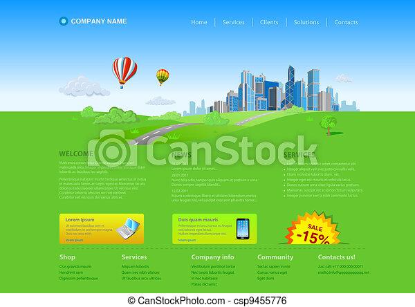 website, template:, wolkenkratzer, stadt - csp9455776