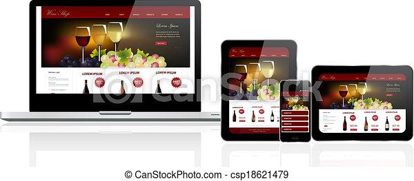 website, veelvoudig, mal, artikelen & hulpmiddelen - csp18621479