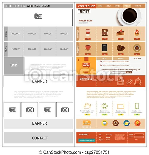 Website wireframe template and mock up clipart vector - Search ...